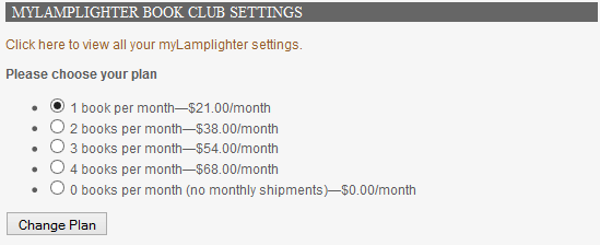 Selecting a myLamplighter plan